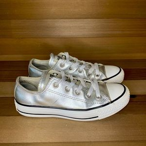 Converse All Star Silver Metallic Low Top Youth 3